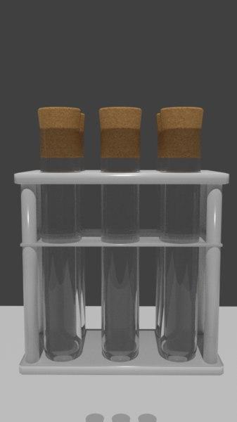 pbr test tubes rack 3D