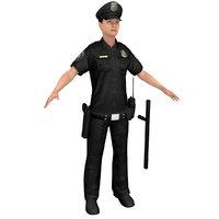 3D female police officer
