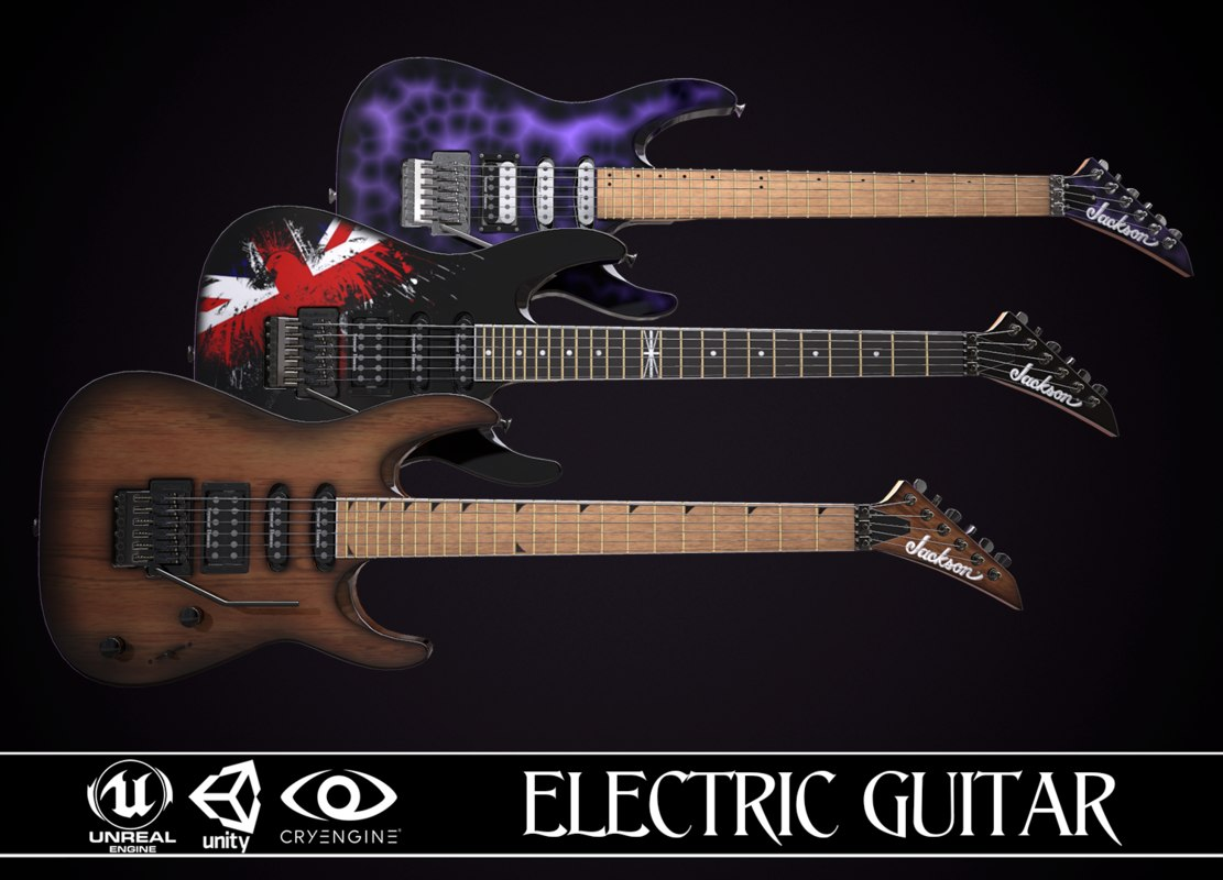 electric guitar jackson dinky 3D model