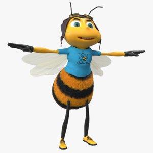 bee cartoon character 3D model