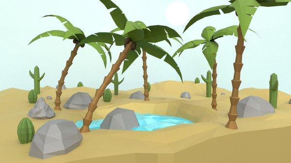 games rocks cactus 3D model