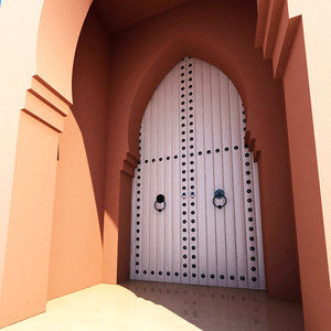 3D traditional moroccan door marrakech model