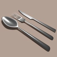 knife fork spoon 3D model