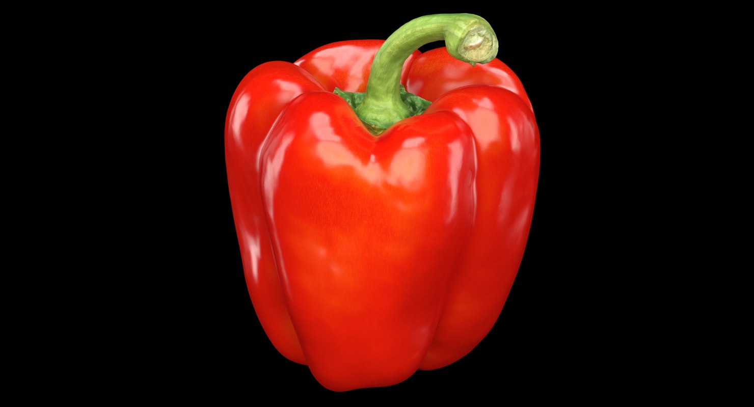 3D model photorealistic red bell pepper
