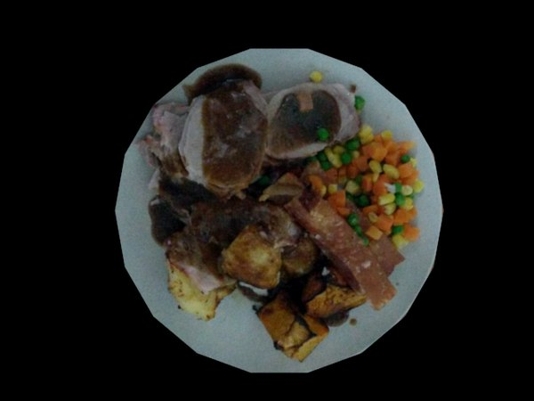 3D roast pork dinner
