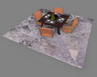 3D dining table set - model