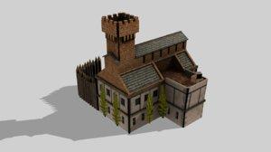 barracks medieval 3D model