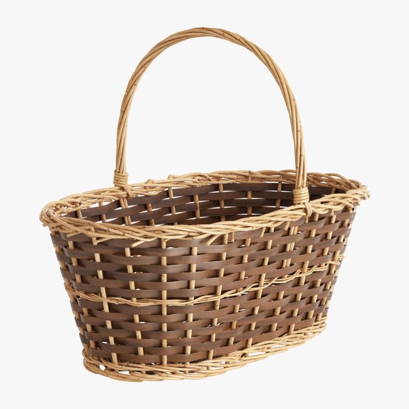 rectangular vine basket 3D model