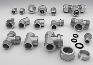 threaded fittings pipe industrial 3D model