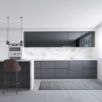 3D kitchen monochrome