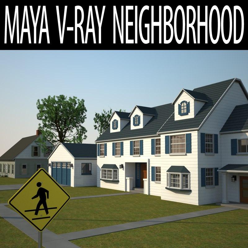 neighborhood v-ray 3D
