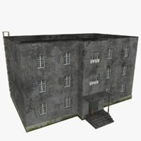 3D model old three-storey house scene