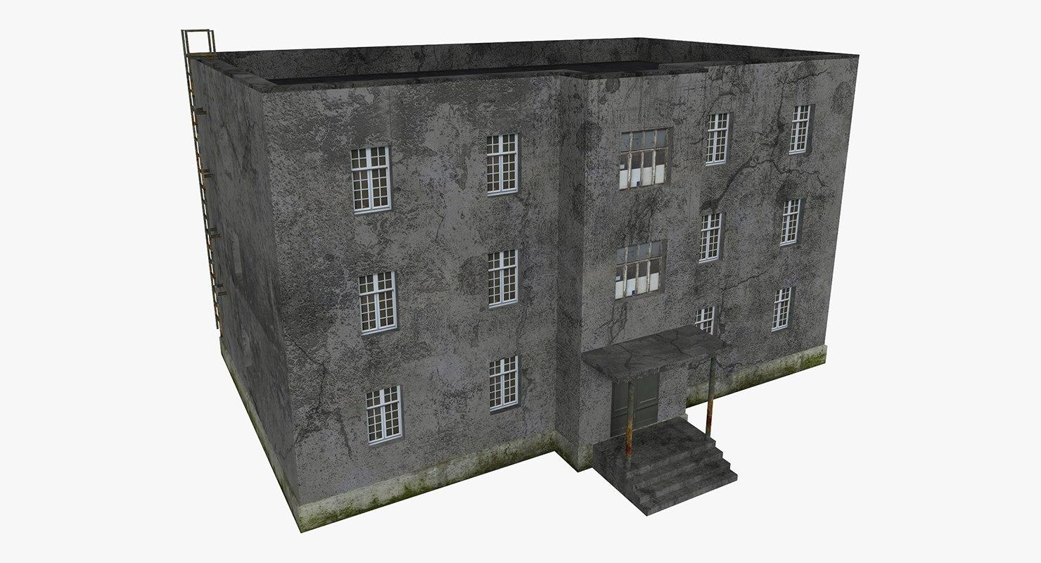 3D model old three-storey house scene