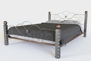 3D realistic bed interior