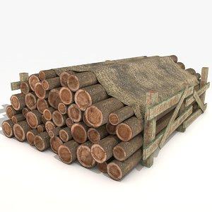 old wooden logs 3D model