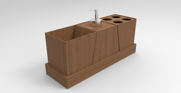 wood bathroom decor 3D