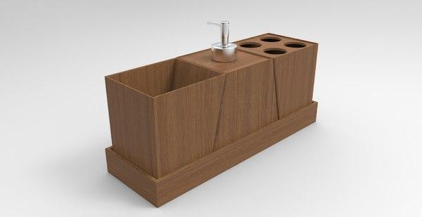 wood bathroom decor 3D