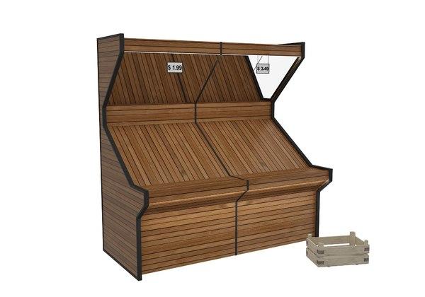 3D model display rack wooden case
