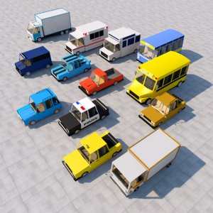 cartoon car pack model
