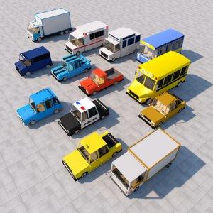 cartoon car pack model