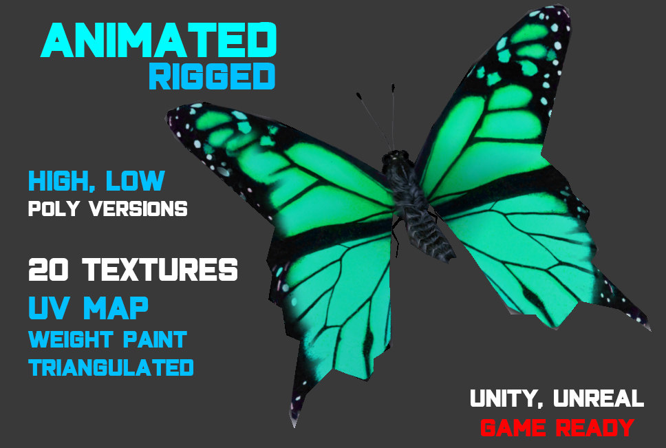 Low/High-poly Butterfly