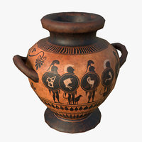 3D model greek stamnos vase