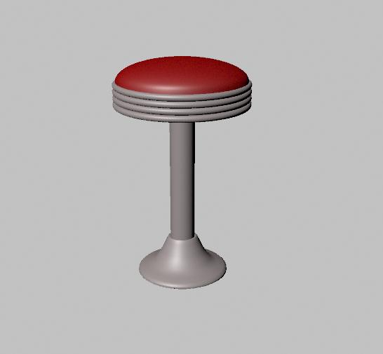 3D model 50 s bar stool