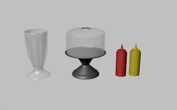 3D diner items milkshake glass model