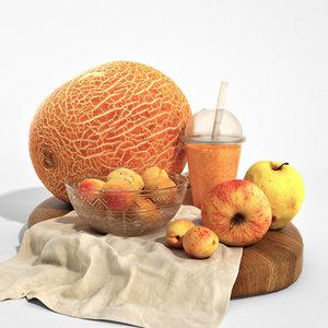 3D set orange fruits apples