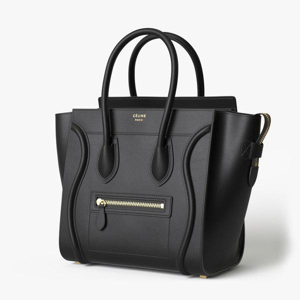 3D model celine luggage handbag black