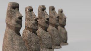 3D moai statues