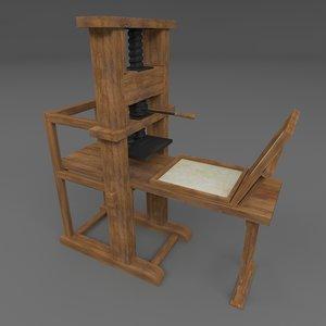 gutenberg printing press 3D