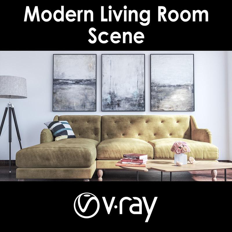 modern living room 3D