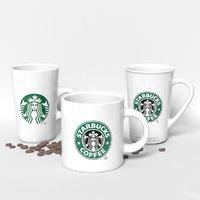 3D starbucks mug set model