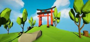 3D japanese torii doors