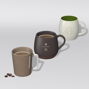 starbucks mug set 2 3D model