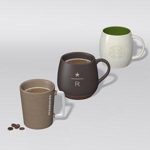 starbucks mug set 2 3D model