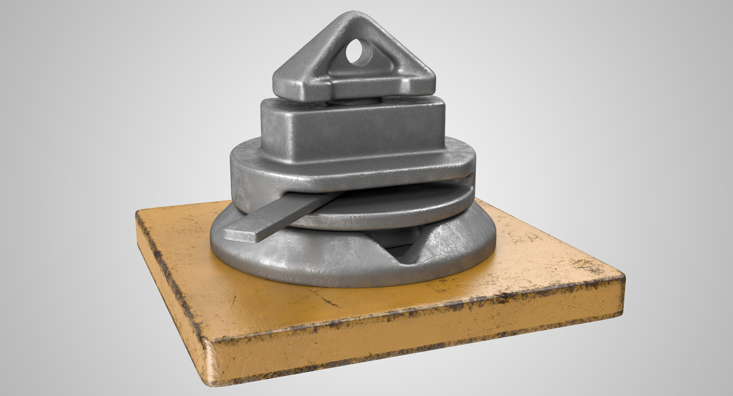 3D container deck lock model