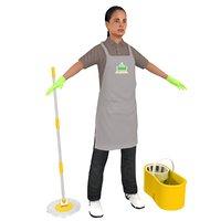 maid female bucket 3D model