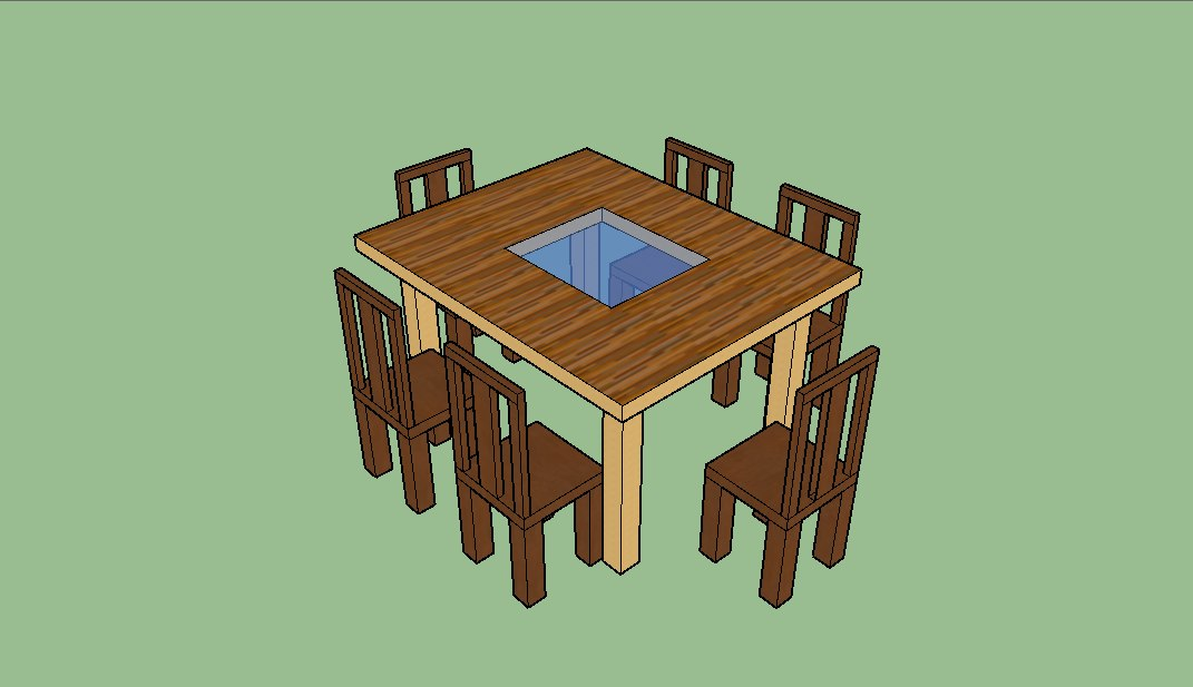3D table chairs glass