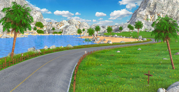 3D model road cartoon sea