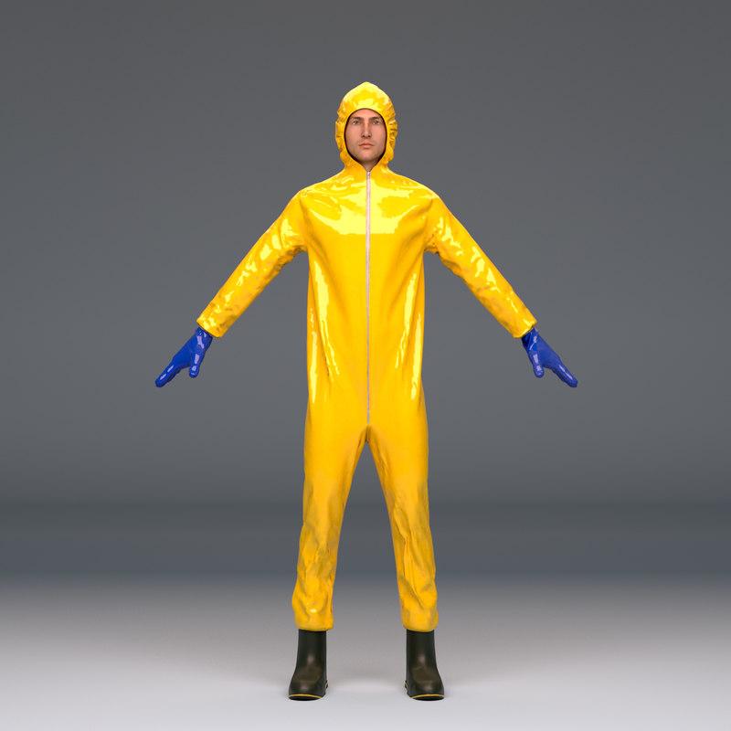 biohazard protective hazmat suit 3D model