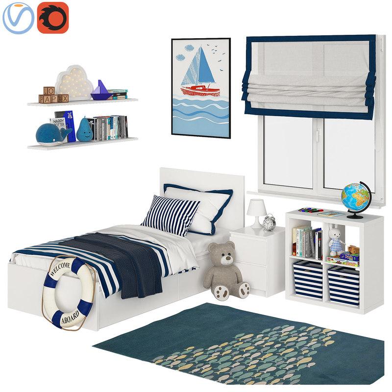 universal children room blue 3D model