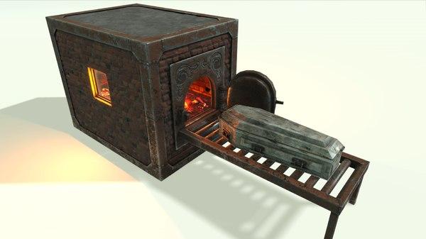 3D vintage cremation furnace