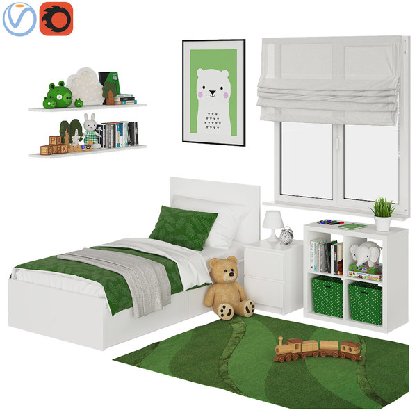 universal children room green 3D model