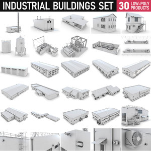 3D industrial buildings - set