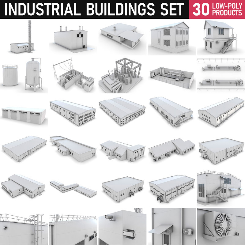 3D industrial buildings - set