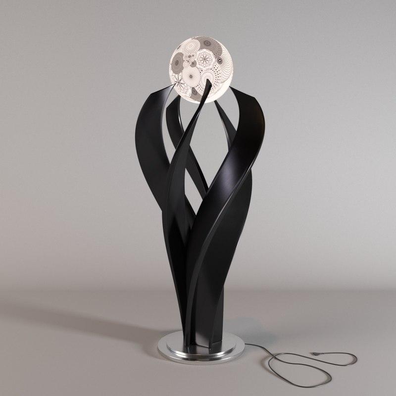 3D model metal floor lamp