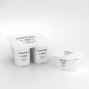 3D yogurt containers model