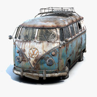 3D low-poly rusty volkswagen t1 model